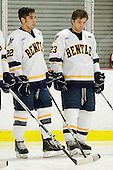 Jordy Trottier (Bentley - 22), Dustin Cloutier (Bentley - 23) - The Bentley University Falcons defeated the visiting Sacred Heart University Pioneers 6-2 in their home opener on November 3, 2010, at John A. Ryan Skating Center in Watertown, Massachusetts.