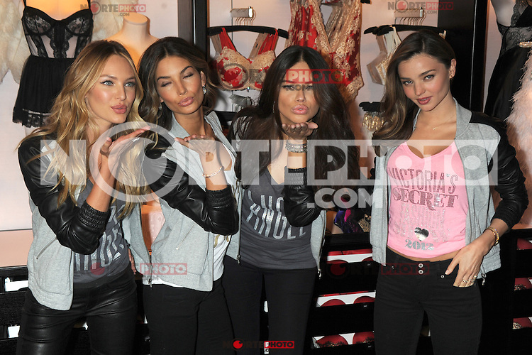 NEW YORK, NY - NOVEMBER 19: Candice Swanepoel, Lily Aldridge, Adriana Lima and Miranda Kerr at the  2012 Victoria's Secret Angel Holiday Celebration at Victoria's Secret, Herald Square on November 19, 2012 in New York City. Credit: mpi01/MediaPunch Inc. /NortePhoto