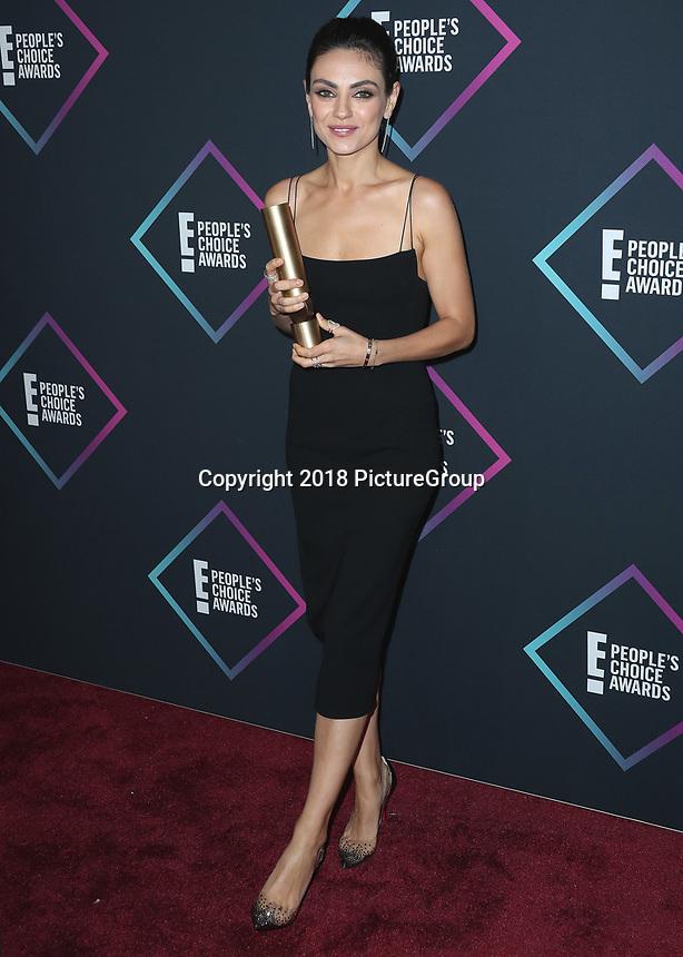 SANTA MONICA - NOVEMBER 11:  Mila Kunis at the People's Choice Awards 2018 at The Barker Hangar on November 11, 2018 in Santa Monica, California. (Photo by Xavier Collin/PictureGroup)