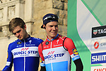 Luxembourg National Champion Bob Jungels (LUX) Quick-Step Floors at sign on before the start of the 112th edition of Il Lombardia 2018, the final monument of the season running 241km from Bergamo to Como, Lombardy, Italy. 13th October 2018.<br /> Picture: Eoin Clarke | Cyclefile<br /> <br /> <br /> All photos usage must carry mandatory copyright credit (© Cyclefile | Eoin Clarke)