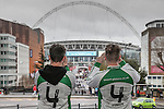LONDON, ENGLAND - MARCH 29: North Ferriby fans arrive at Wembly Stadium ahead of the FA Carlsberg Trophy Final 2015 at Wembley Stadium on March 29, 2054 in London, England. (Photo by David Horn/EAP)