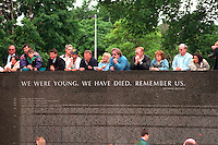 People at the Vietnam wall remembering soldiers who died in wars. St Paul Minnesota USA