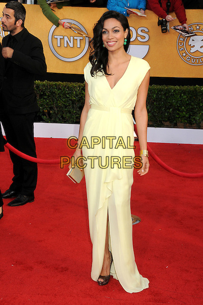 ROSARIO DAWSON.17th Annual Screen Actors Guild Awards held at The Shrine Auditorium, Los Angeles, California, USA..January 30th, 2011.SAG arrivals full length yellow dress maxi gold clutch bag sleeveless slit split.CAP/ADM/BP.©Byron Purvis/AdMedia/Capital Pictures.