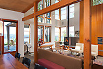 Wood beams and floor-to-ceiling windows are among the unique elements of a contemporary island home. This image is available through an alternate architectural stock image agency, Collinstock located here: http://www.collinstock.com