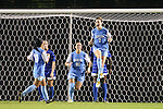 18 October 2012: UNC's Kealia Ohai (7) reacts to scoring a goal as Maria Lubrano (91) and Ranee Premji (CAN) (10) move in the celebrate with her. The University of North Carolina Tar Heels defeated the Duke University Blue Devils 2-0 at Koskinen Stadium in Durham, North Carolina in a 2012 NCAA Division I Women's Soccer game.