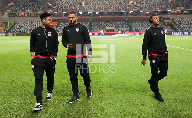 Leiria, Portugal - Tuesday November 14, 2017: Weston McKennie, Cameron Carter-Vickers, Tyler Adams during an International friendly match between the United States (USA) and Portugal (POR) at Estádio Dr. Magalhães Pessoa.