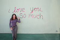 "The ""i love you so much"" mural is Austin's most famous landmark and mural on South Congress Avenue - Stock Image."