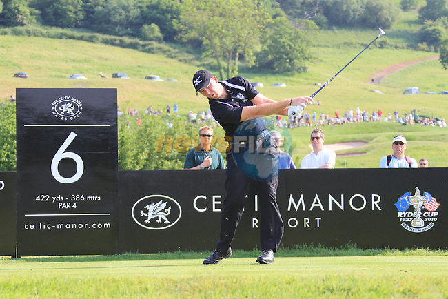 Daniel Vancsik teeing off on the 6th on day two of the Celtic Manor wales Open 2010.Picture Fran Caffrey/Newsfile.ie