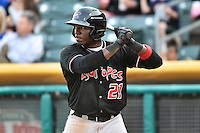 Trayvon Robinson (21) of the Albuquerque Isotopes at bat against the Salt Lake Bees at Smith's Ballpark on April 21, 2014 in Salt Lake City, Utah.  (Stephen Smith/Four Seam Images)