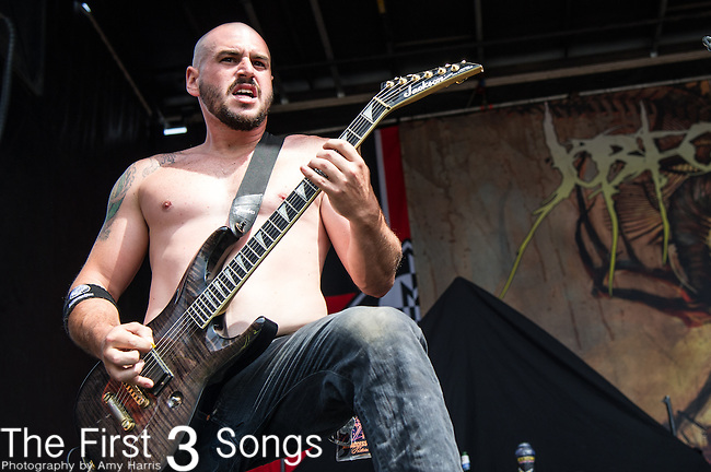 Al Glassman of Job for a Cowboy performs during the 2013 Mayhem Festival at Klipsch Music Center in Indianapolis, Indiana.