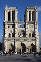 Western façade, Notre Dame de Paris, 1163 - 1345, initiated by the bishop Maurice de Sully, Ile de la Cité, Paris, France. Picture by Manuel Cohen