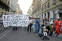 Roma, 12 Maggio 2014<br /> Manifestazione dei movimenti per il diritto alla casa contro i divieti di manifestare in centro, il piano caso, e il jobs act del Governo Renzi. Il corteo finisce con una tendopoli in Via dei Fori Imperiali.