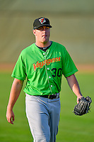 Richard McWilliams (30) of the Great Falls Voyagers walks onto the field before the game against the Ogden Raptors in Pioneer League action at Lindquist Field on August 18, 2016 in Ogden, Utah. Ogden defeated Great Falls 10-6. (Stephen Smith/Four Seam Images)