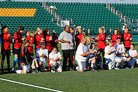 Rochester, NY - Saturday July 23, 2016: Western New York Flash and members of the Special Olympics prior to a regular season National Women's Soccer League (NWSL) match between the Western New York Flash and FC Kansas City at Rochester Rhinos Stadium.