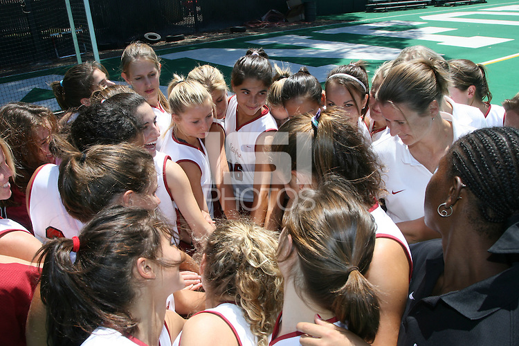 9 August 2007: Chloe Bade, Caroline Hussey, Marlana Shile, Katherine Swank, Lesley Irvine and the team during picture day at the field hockey field in Stanford, CA.