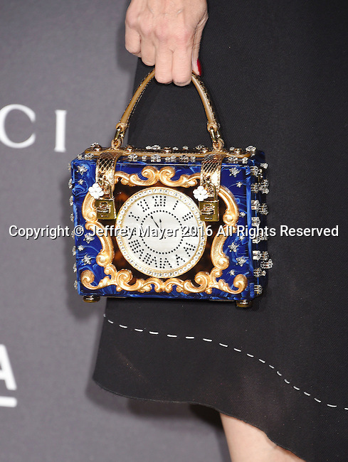 LOS ANGELES, CA - OCTOBER 29: Actress Jennifer Tilly, handbag detail, at the 2016 LACMA Art + Film Gala honoring Robert Irwin and Kathryn Bigelow presented by Gucci at LACMA on October 29, 2016 in Los Angeles, California.