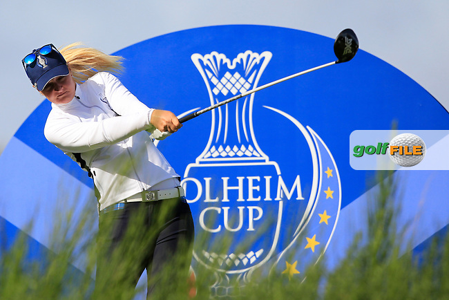 Anna Nordqvist Team Europe on the 8th tee during Day 1 Fourball at the Solheim Cup 2019, Gleneagles Golf CLub, Auchterarder, Perthshire, Scotland. 13/09/2019.<br /> Picture Thos Caffrey / Golffile.ie<br /> <br /> All photo usage must carry mandatory copyright credit (© Golffile | Thos Caffrey)