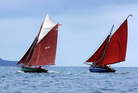 Joe Pennington's restored Manx fishing cutter Master Frank and the Naomh Cronan