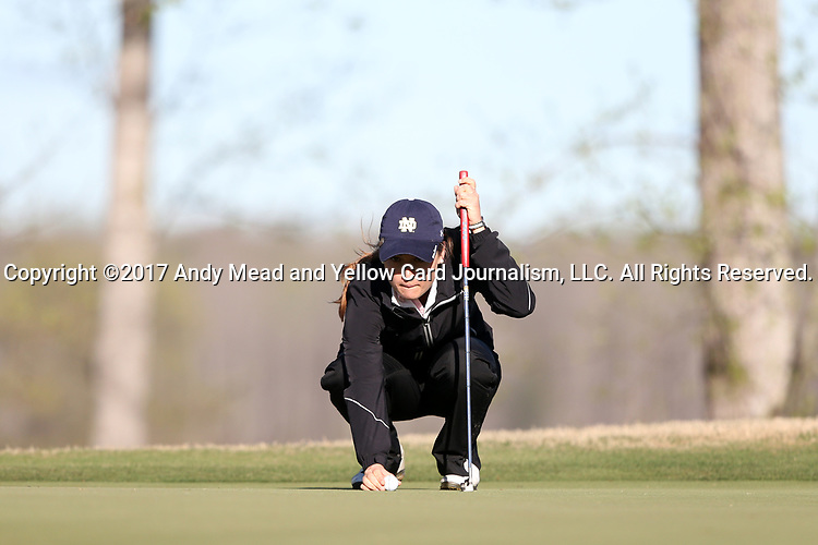 BROWNS SUMMIT, NC - APRIL 01: Notre Dame's Emma Albrecht lines up a putt on the 11th green. The first round of the Bryan National Collegiate Women's Golf Tournament was held on April 1, 2017, at the Bryan Park Champions Course in Browns Summit, NC.