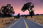 Dawn light over country road near Plymouth, Shenandoah Valley, Amador County, California