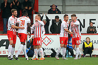 Armand Gnanduillet of Stevenage celebrates scoring his sides 2nd goal during the Sky Bet League 2 match between Stevenage and Wycombe Wanderers at the Lamex Stadium, Stevenage, England on 17 October 2015. Photo by PRiME Media Images.