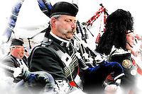 Pipers from several countries  at The Aboyne Highland Games.