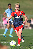 Piscataway, NJ, April 24, 2016.  Washington Spirit midfielder Joanna Lohman (15) dribbles the ball.  The Washington Spirit defeated Sky Blue FC 2-1 during a National Women's Soccer League (NWSL) match at Yurcak Field.