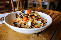 March 13, 2019. San Diego, CA. USA|Linguine with clam dish at Barbusa located in Little Italy. | Photos by Jamie Scott Lytle. Copyright.