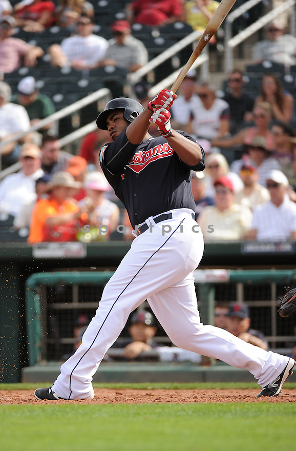 Cleveland Indians Jesus Aguilar (36) during a pre-season game against the Cincinnati Reds on March 1, 2016 at Goodyear Ballpark in Goodyear, AZ. The Reds beat the Indians 6-5.