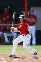 Michael Livingston #35 of the Cal State Northridge Matadors bats against the University of San Diego Toreros at Matador Field on March 26, 2013 in Northridge, California. (Larry Goren/Four Seam Images)
