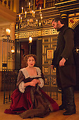 London, UK. 17 January 2015. Pictured: Hattie Morahan as Beatrice-Joanna and Trystan Gravelle as Deflores. Photocall for The Changeling by Thomas Middleton & William Rowley at the Sam Wanamaker Playhouse/Globe Theatre, London, UK. The play is directed by Dominic Domgoole starring Hattie Morahan as Beatrice-Joanna and Trystan Gravelle as Deflores. Playing from 15 January to 1 March 2015. Photo: Bettina Strenske