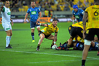 Hurricanes halfback TJ Perenara during the Super Rugby match between the Hurricanes and Blues at Sky Stadium in Wellington, New Zealand on Saturday, 7 March 2020. Photo: Dave Lintott / lintottphoto.co.nz