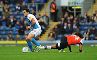Blackburn Rovers' Lewis Travis under pressure from Luton Town's Izzy Brown<br /> <br /> Photographer Kevin Barnes/CameraSport<br /> <br /> The EFL Sky Bet Championship - Blackburn Rovers v Luton Town - Saturday 28th September 2019 - Ewood Park - Blackburn<br /> <br /> World Copyright © 2019 CameraSport. All rights reserved. 43 Linden Ave. Countesthorpe. Leicester. England. LE8 5PG - Tel: +44 (0) 116 277 4147 - admin@camerasport.com - www.camerasport.com