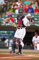 Rochester Red Wings catcher Carlos Paulino (20) during a game against the Pawtucket Red Sox on July 1, 2015 at Frontier Field in Rochester, New York.  Rochester defeated Pawtucket 8-4.  (Mike Janes/Four Seam Images)