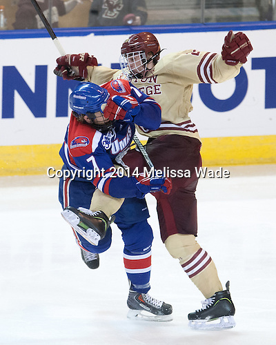 Shayne Thompson (UML - 7), Scott Savage (BC - 28) - The Boston College Eagles defeated the University of Massachusetts Lowell River Hawks 4-3 in the NCAA Northeast Regional final on Sunday, March 30, 2014, at the DCU Center in Worcester, Massachusetts.