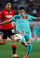 24.02.2012. Mallorca, Spain. La Liga Picture show Alexis Sanchez in action during match between Real Mallorca against FC Barcelona at Iberostar Estadi