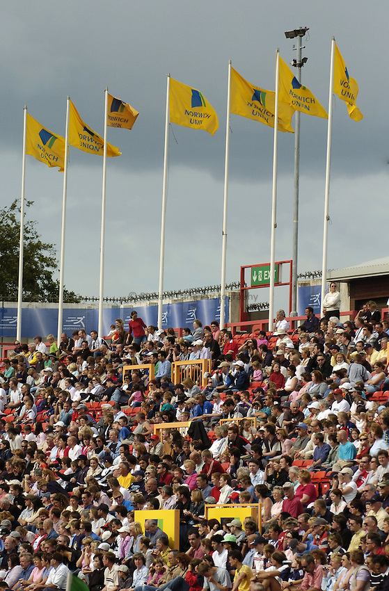 Photo. Jed Wee..Norwich Union British Grand Prix, 27/06/2004..Norwich Union flags with a full crowd.