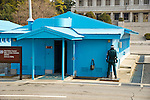 PANMUNJOM - MARCH 15: South Korean and UNC soldiers stand guard in the Joint Security Area between North Korean and South Korea on March 15, 2013.   Tensions have been steadily rising since North Korea detonated a nuclear device in February.