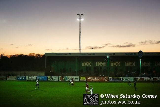 The floodlights take over as the sun sets. Blyth Spartans v Brackley Town, 30112019. Croft Park, National League North. Photo by Paul Thompson.