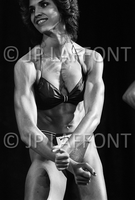 Los Angeles, 1980, California<br /> Peggy Russell, California Women's Bodybuilding Championship.