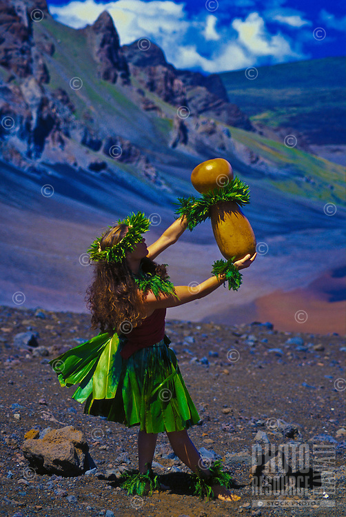 Woman performs kahiko hula at Haleakala Crater, Maui
