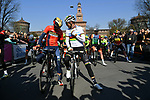Vincenzo Nibali (ITA) Bahrain-Merida and World Champion Alejandro Valverde (ESP) Movistar Team chat before the start of the 110th edition of Milan-San Remo 2019 running 291km from Milan to San Remo, Italy. 23rd March 2019.<br /> Picture: LaPresse/Gian Matteo D'Alberto | Cyclefile<br /> <br /> <br /> All photos usage must carry mandatory copyright credit (© Cyclefile | LaPresse/Gian Matteo D'Alberto)