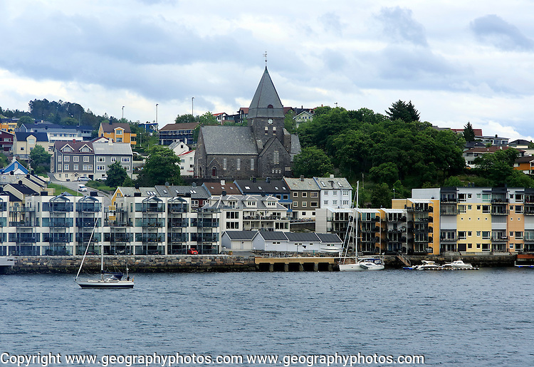 Houses and church in coastal town of Kristiansund, Romsdal county, Norway