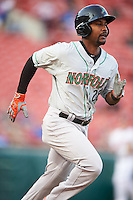 Norfolk Tides center fielder L.J. Hoes (28) runs to first base during a game against the Buffalo Bisons on July 18, 2016 at Coca-Cola Field in Buffalo, New York.  Norfolk defeated Buffalo 11-8.  (Mike Janes/Four Seam Images)