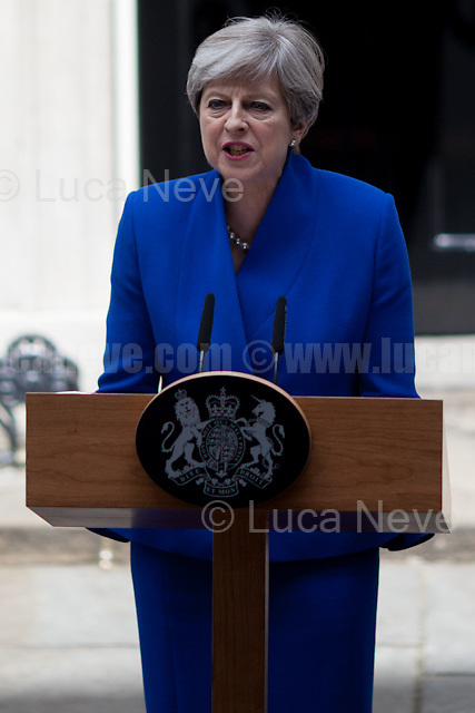 London, 09/06/2017. Today, the newly elected British Prime Minister, Theresa May, speaks outside 10 Downing Street to announce the result of the General Election 2017, where the Conservative Party lost its parliamentary majority and the election resulted in a hung Parliament, and to inform the public that she will form her new minority Conservative government in coalition with the Democratic Unionist Party (DUP - http://bit.ly/2s93eHf), the largest unionist political party in Northern Ireland led by Arlene Foster. Earlier, Theresa May and her husband, Philip John May, went to Buckingham Palace to meet HM Queen Elizabeth II seeking the permission to form May's second Government as British Prime Minister.<br />