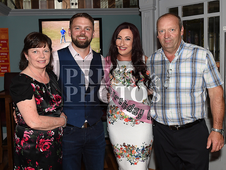 Karen Devitt celebrating her 30th birthday and recent engagement with Paul Heatherington and his parents Chris and Mary Heatherington in Barocco in the Westcourt hotel. Photo:Colin Bell/pressphotos.ie