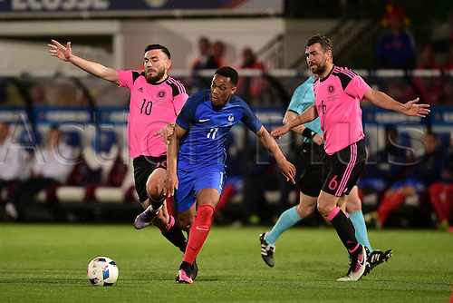 04.06.2016. Stade Saint Symphorien, Metz, France. International football freindly,France versus Scotland.  Anthony Martial (France) breaks past Robert Snodgrass (sco)