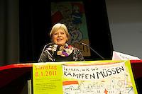 16. Rosa Luxemburg-Konferenz der linken Tageszeitung &quot;junge Welt&quot;.<br /> Am Samstag den 8. Januar 2011 veranstaltete die linke Tageszeitung &quot;junge Welt&quot; ihre traditionelle Rosa Luxemburg-Konferenz. Teilnehmerinnen bei der Abschlussdiskussion waren u.a die Parteivorsitzender der Linkspartei Die LINKE. Gesine Loetzsch (im Bild); die Linkspartei-MdB Ulla Jelpke; die Vorsitzende der Deutschen Kommunistishen Partei DKP Bettina Juergensen; das ehemalige RAF-Mitglied Inge Viet und Katrin Dornheim, Betriebsratsvorsitzende bei der Deutschen Bahn AG in Berlin.<br /> 8.1.2011, Berlin<br /> Copyright: Christian-Ditsch.de<br /> [Inhaltsveraendernde Manipulation des Fotos nur nach ausdruecklicher Genehmigung des Fotografen. Vereinbarungen ueber Abtretung von Persoenlichkeitsrechten/Model Release der abgebildeten Person/Personen liegen nicht vor. NO MODEL RELEASE! Nur fuer Redaktionelle Zwecke. Don't publish without copyright Christian-Ditsch.de, Veroeffentlichung nur mit Fotografennennung, sowie gegen Honorar, MwSt. und Beleg. Konto: I N G - D i B a, IBAN DE58500105175400192269, BIC INGDDEFFXXX, Kontakt: post@christian-ditsch.de<br /> Bei der Bearbeitung der Dateiinformationen darf die Urheberkennzeichnung in den EXIF- und  IPTC-Daten nicht entfernt werden, diese sind in digitalen Medien nach &sect;95c UrhG rechtlich geschuetzt. Der Urhebervermerk wird gemaess &sect;13 UrhG verlangt.]