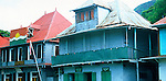 Old style corrugated iron buildings in Victoria, Mahe, Seychelles