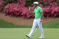 Bryson DeChambeau (USA) on the 13th green during the 1st round at the The Masters , Augusta National, Augusta, Georgia, USA. 11/04/2019.<br /> Picture Fran Caffrey / Golffile.ie<br /> <br /> All photo usage must carry mandatory copyright credit (&copy; Golffile | Fran Caffrey)